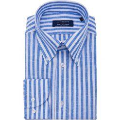 Koszula Niebieska w Prążek Road. Niebieskie koszule męskie na spinki LANCERTO, m, w prążki, z bawełny, button down. Za 299,00 zł.