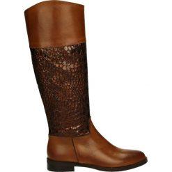 Kozaki - 2060 CUOI-RAM. Brązowe buty zimowe damskie marki Kazar, ze skóry, przed kolano, na wysokim obcasie. Za 329,00 zł.