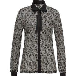 Bluzka koronkowa bonprix czarno-biel wełny. Czarne bluzki z odkrytymi ramionami marki bonprix, z koronki, z kokardą. Za 109,99 zł.
