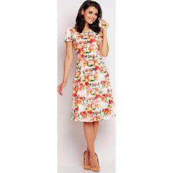 Sukienki: Pomarańczowo-kwiatowa Klasyczna Sukienka Letnia z Krótkim Rękawem