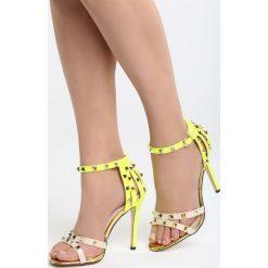 Beżowo-Zielone Sandały Thoughtful. Brązowe sandały damskie marki Born2be, z materiału, na wysokim obcasie, na obcasie. Za 79,99 zł.