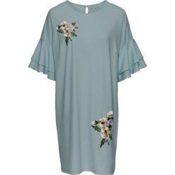 Sukienka z krepy z dżerseju, z haftem bonprix matowy zielony. Szare sukienki balowe marki bonprix, z haftami, z dżerseju, z okrągłym kołnierzem, z krótkim rękawem, mini. Za 59,99 zł.