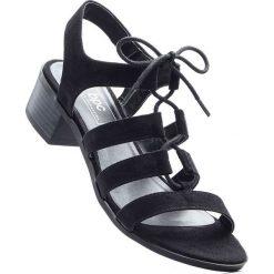 Sandały bonprix czarny. Czarne rzymianki damskie bonprix, w paski. Za 89,99 zł.