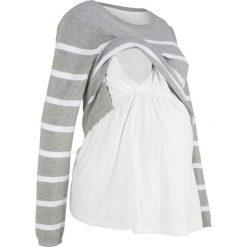 Swetry klasyczne damskie: Sweter ciążowy i do karmienia bonprix jasnoszary melanż - biały w paski