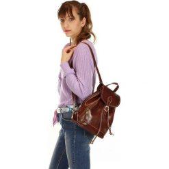 CELESTA Włoski plecak skórzany brąz. Brązowe plecaki damskie MAZZINI, ze skóry, klasyczne. Za 339,00 zł.