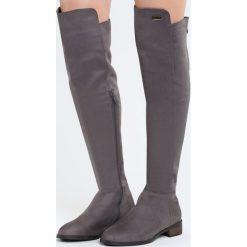 Szare Kozaki Zippered. Szare buty zimowe damskie marki Born2be, z okrągłym noskiem, na płaskiej podeszwie. Za 169,99 zł.