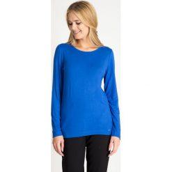Bluzki damskie: Niebieska bluzka basic z łezką na plecach QUIOSQUE