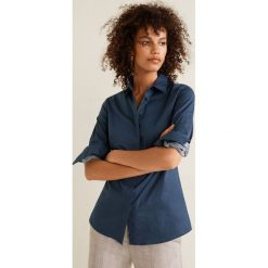 Mango - Koszula Santi. Szare koszule wiązane damskie Mango, l, z bawełny, klasyczne, z klasycznym kołnierzykiem, z długim rękawem. Za 89,90 zł.