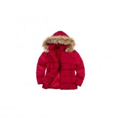 Kurtka damska zimowa, z futerkiem z kieszeniami, z kapturem, rozpinana, pikowana. Czerwone bomberki damskie TXM, na zimę, z kapturem. Za 89,99 zł.