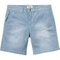 Długie szorty dżinsowe ze stretchem Regular Fit bonprix niebieski w paski. Niebieskie spodenki jeansowe męskie bonprix, w paski. Za 89,99 zł.