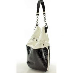 Torebki worki: Stylowa torebka sakiewka czarny z białym