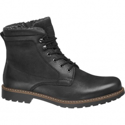 Kozaki męskie AM SHOE czarne. Czarne buty zimowe męskie AM SHOE, z materiału, na sznurówki. Za 239,90 zł.