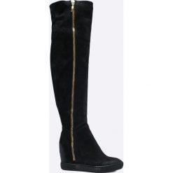 Carinii - Kozaki by Maja Sablewska. Czarne buty zimowe damskie marki Carinii, z materiału, z okrągłym noskiem, na koturnie. W wyprzedaży za 399,90 zł.
