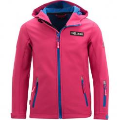 Kurtka softshellowa w kolorze różowo-niebieskim. Czerwone kurtki dziewczęce przeciwdeszczowe marki Reserved, z kapturem. W wyprzedaży za 125,95 zł.