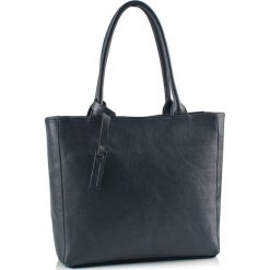 Torebki klasyczne damskie: Skórzana torebka w kolorze granatowym – (S)40 x (W)30 x (G)13 cm