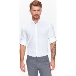KOSZULA MĘSKA GŁADKA O REGULARNYM KROJU Z WYWIJANYMI RĘKAWAMI. Szare koszule męskie marki House, l, z bawełny. Za 39,99 zł.
