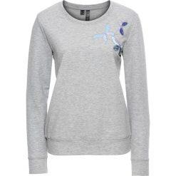 Bluzy damskie: Bluza z naszywkami w kształcie motyli bonprix jasnoszary melanż