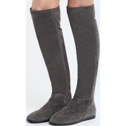 Szare Kozaki Charming Gleam. Szare buty zimowe damskie marki Born2be, z materiału, z okrągłym noskiem, na płaskiej podeszwie. Za 84,99 zł.