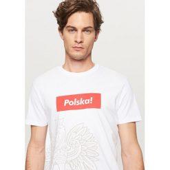 T-shirty męskie: T-shirt dla kibica – Kremowy