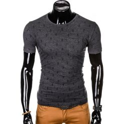 T-SHIRT MĘSKI Z NADRUKIEM S1006 - GRAFITOWY. Zielone t-shirty męskie z nadrukiem marki Ombre Clothing, na zimę, m, z bawełny, z kapturem. Za 35,00 zł.