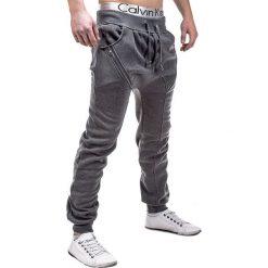 SPODNIE MĘSKIE DRESOWE P184 - GRAFITOWE. Szare spodnie dresowe męskie marki Ombre Clothing, z bawełny. Za 49,00 zł.