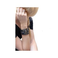 BRANSOLETKA SKÓRZANA Black Leather. Czarne bransoletki damskie na nogę marki Moderntime, ze stali. Za 89,00 zł.