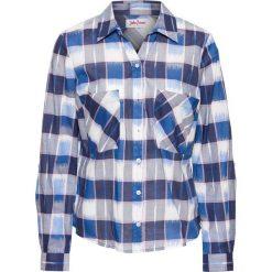 Bluzki damskie: Bluzka w kratę, długi rękaw bonprix niebieski w kratę