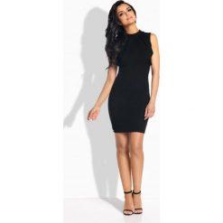 Sukienki balowe: Elegancka sukienka ze stylowymi paskami czarna