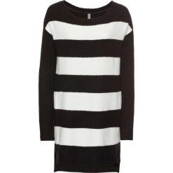 Swetry klasyczne damskie: Sweter dzianinowy bonprix czarno-biel wełny