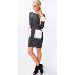 Sukienki: Sukienka z futerkiem ciemnoszara 1472