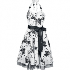 H&R London Floral Long Dress Sukienka biały/czarny. Białe sukienki na komunię H&R London, na imprezę, xl, w kwiaty, z tiulu. Za 194,90 zł.