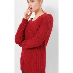 Sweter z warkoczami. Żółte swetry klasyczne damskie marki Orsay, s, z bawełny, z golfem. Za 119,99 zł.