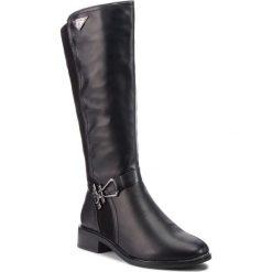 Oficerki JENNY FAIRY - WYL102713 Black. Czarne buty zimowe damskie Jenny Fairy, z materiału, na obcasie. Za 159,99 zł.