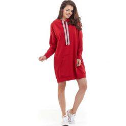 Bluzy damskie: Czerwona Długa Bluza Kangurka z Kapturem w Sportowym Stylu