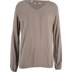 Bluzka z długim rękawem bonprix brunatny. Brązowe bluzki asymetryczne bonprix, z długim rękawem. Za 74,99 zł.