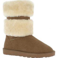 """Buty zimowe damskie: Skórzane kozaki """"Mara"""" w kolorze brązowym"""