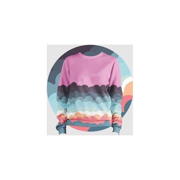 592b4110dba9 Bluza Fullprint Chmurki Damska - Różowe bluzy damskie Failfake
