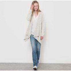 Sweter rozpinany z bawełny i wiskozy. Szare kardigany damskie marki La Redoute Collections, m, z bawełny, z kapturem. Za 293,96 zł.
