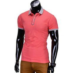 KOSZULKA MĘSKA POLO BEZ NADRUKU S663 - KORALOWA. Czarne koszulki polo marki Ombre Clothing, m, z bawełny, z kapturem. Za 39,00 zł.