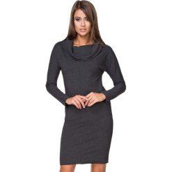 Czarna Sukienka Dresowa Dopasowana z Lejącym Golfem. Czarne sukienki dresowe marki Molly.pl, na co dzień, l, z golfem, z długim rękawem, midi, dopasowane. Za 139,90 zł.