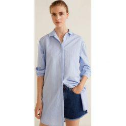 Mango - Koszula Lines. Szare koszule damskie marki Mango, l, w paski, z bawełny, klasyczne, z klasycznym kołnierzykiem, z długim rękawem. W wyprzedaży za 89,90 zł.