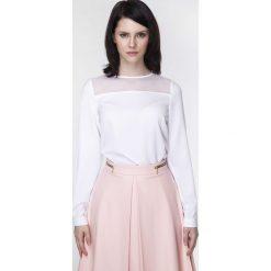 Bluzki damskie: Biała Bluzka z Długim Rękawem z Transparentnym Karczkiem