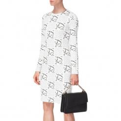 Sukienka w kolorze biało-czarnym. Białe sukienki na komunię marki BOHOBOCO, z okrągłym kołnierzem, midi, proste. W wyprzedaży za 799,95 zł.