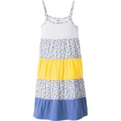 Sukienki dziewczęce: Sukienka letnia bonprix biało-lila-żółty