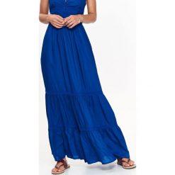 DŁUGA SUKIENKA LETNIA, Z KORONKOWYMI RAMIĄCZKAMI. Szare długie sukienki marki Top Secret, na jesień, z koronki, z długim rękawem. Za 64,99 zł.