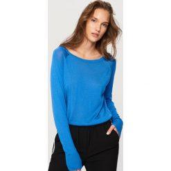 Kardigany damskie: Sweter z półokrągłym dekoltem - Niebieski