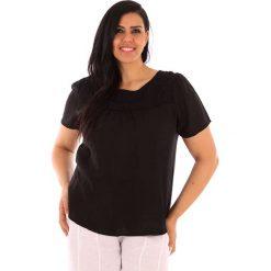 """T-shirty damskie: Lniana koszulka """"Geneve"""" w kolorze czarnym"""