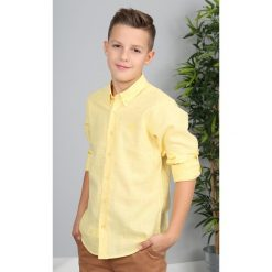 Żółta Nakrapiana Koszula NDZ3803. Czarne koszule chłopięce marki Fasardi, m, z dresówki. Za 69,00 zł.