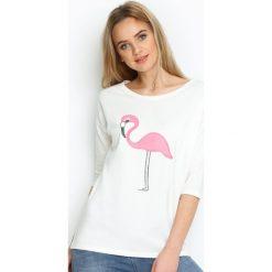 Kremowa Bluzka Shiny Flamingo. Różowe bluzki longsleeves marki Born2be, m. Za 39,99 zł.