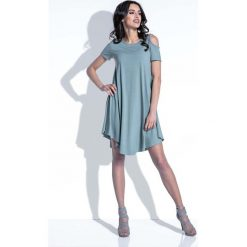 Oliwkowa Sukienka z Odkrytymi Ramionami. Niebieskie sukienki mini marki Reserved, z odkrytymi ramionami. Za 102,90 zł.
